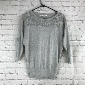 ♣️Lauren Conrad Embellished Grey Knit Sweater XS